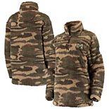 Women's Camo Michigan Wolverines OHT Military Appreciation Sherpa Quarter-Zip Pullover Jacket