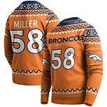 Men's Von Miller Orange Denver Broncos Player Name & Number Pullover Sweater