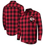 Men's Red Kansas City Chiefs Large Check Flannel Button-Up Shirt