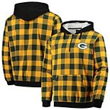 Men's Gold/Green Green Bay Packers Large Check Sherpa Flannel Quarter-Zip Hoodie Jacket