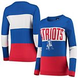 Women's Royal New England Patriots Retro Colorblock Sweater