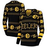 Women's Black Pittsburgh Steelers Light-Up V-Neck Ugly Sweater