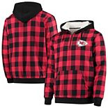 Men's Red/Black Kansas City Chiefs Large Check Sherpa Flannel Quarter-Zip Hoodie Jacket
