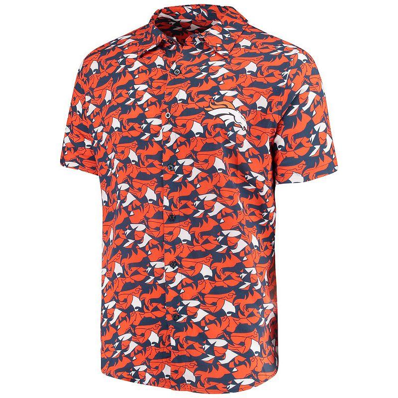 Men's Navy/Orange Denver Broncos NFLxFIT Quicksnap Woven Shirt. Size: Medium. Blue
