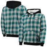 Men's Midnight Green/Gray Philadelphia Eagles Large Check Sherpa Flannel Quarter-Zip Hoodie Jacket