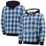 Men's Royal/Gray Indianapolis Colts Large Check Sherpa Flannel Quarter-Zip Hoodie Jacket