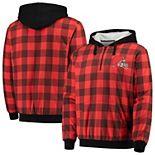 Men's Orange/Brown Cleveland Browns Large Check Sherpa Flannel Quarter-Zip Hoodie Jacket