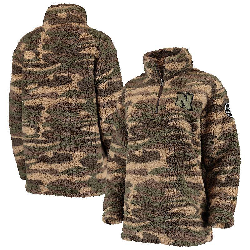 Women's Camo Nebraska Cornhuskers OHT Military Appreciation Sherpa Quarter-Zip Pullover Jacket. Size: Small. Green