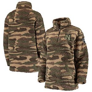 Women's Camo Nebraska Cornhuskers OHT Military Appreciation Sherpa Quarter-Zip Pullover Jacket