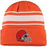 Men's New Era Orange Cleveland Browns Helmet Basic Striped Cuffed Knit Hat