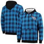 Men's Light Blue/Navy Tennessee Titans Large Check Sherpa Flannel Quarter-Zip Hoodie Jacket