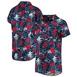 Women's Navy New England Patriots Floral Harmonic Button-Up Shirt