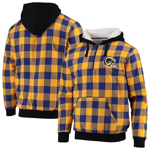 Men's Gold/Navy Los Angeles Rams Large Check Sherpa Flannel Quarter-Zip Hoodie Jacket