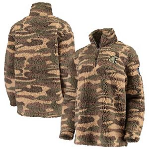 Women's Camo Washington State Cougars OHT Military Appreciation Sherpa Quarter-Zip Pullover Jacket