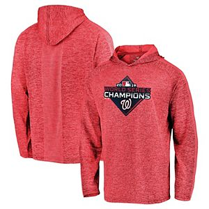 Men's Majestic Washington Nationals Red 2019 World Series Champions Logo Pullover Hoodie