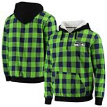 Men's Neon Green/College Navy Seattle Seahawks Large Check Sherpa Flannel Quarter-Zip Hoodie Jacket