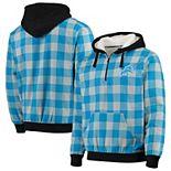 Men's Blue/Silver Detroit Lions Large Check Sherpa Flannel Quarter-Zip Hoodie Jacket