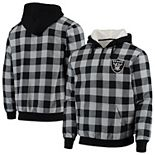 Men's Black/Silver Oakland Raiders Large Check Sherpa Flannel Quarter-Zip Hoodie Jacket