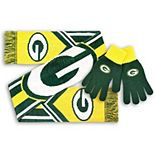 Men's Green Bay Packers Knit Gloves and Scarf Set