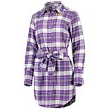 Women's ZooZatz Purple LSU Tigers Warm Up Flannel Button-Up Dress
