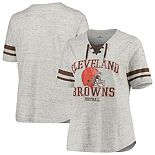 Women's Majestic Heathered Gray Cleveland Browns Plus Size Striped Lace-Up V-Neck T-Shirt