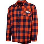 Men's Klew Orange Denver Broncos Large Check Flannel Button-Up Shirt