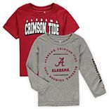 Toddler Crimson/Heathered Gray Alabama Crimson Tide Club Short Sleeve and Long Sleeve T-Shirt Combo Set