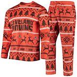 Men's Orange Cleveland Browns Holiday Wordmark Ugly Pajama Set