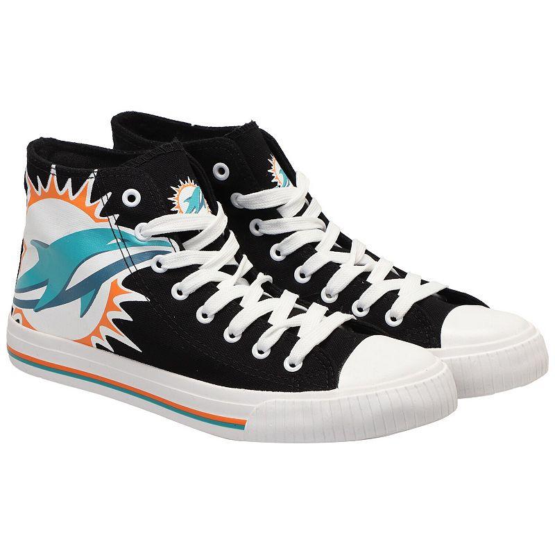 Men's Miami Dolphins Big Logo High Top Sneakers, Size: 8, Black