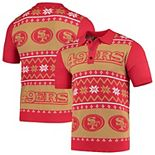 Men's Scarlet/Gold San Francisco 49ers Ugly Sweater Knit Polo