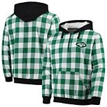 Men's Green/White New York Jets Large Check Sherpa Flannel Quarter-Zip Hoodie Jacket