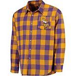 Men's Klew Purple Minnesota Vikings Large Check Flannel Button-Up Shirt