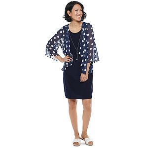 Women's Croft & Barrow® Floral Chiffon Cardigan & Sheath Dress Set