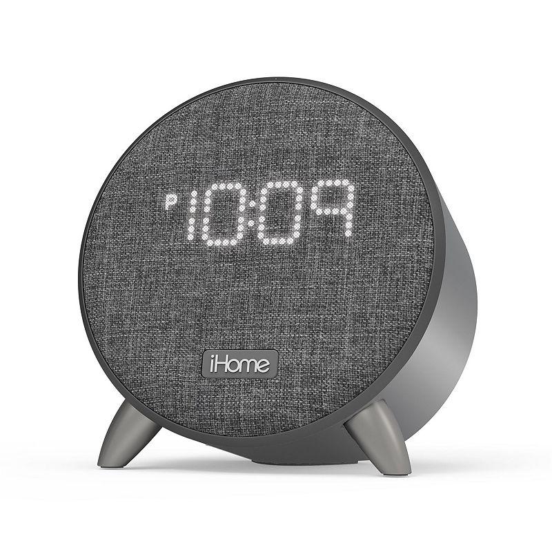 iHome Power Clock Bluetooth Alarm Clock with Dual USB Charging & Nightlight, Grey