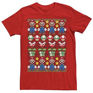 Men's Nintendo Super Mario Character Stack Ugly Christmas Sweater Style Tee