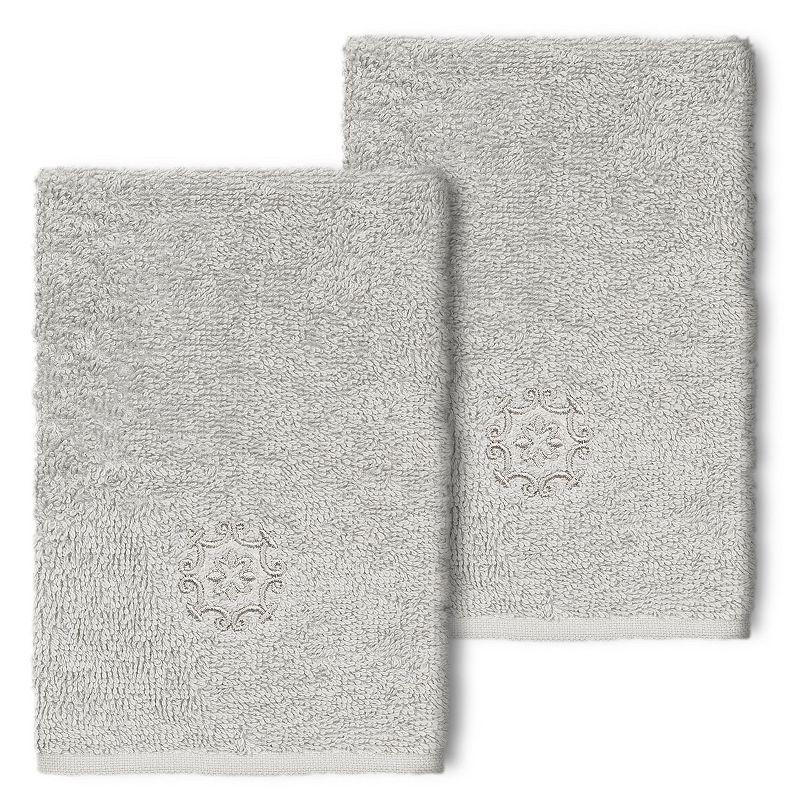 Linum Home Textiles Turkish Cotton Alyssa 2-piece Embellished Washcloth Set, Light Grey, 2 Pc Set