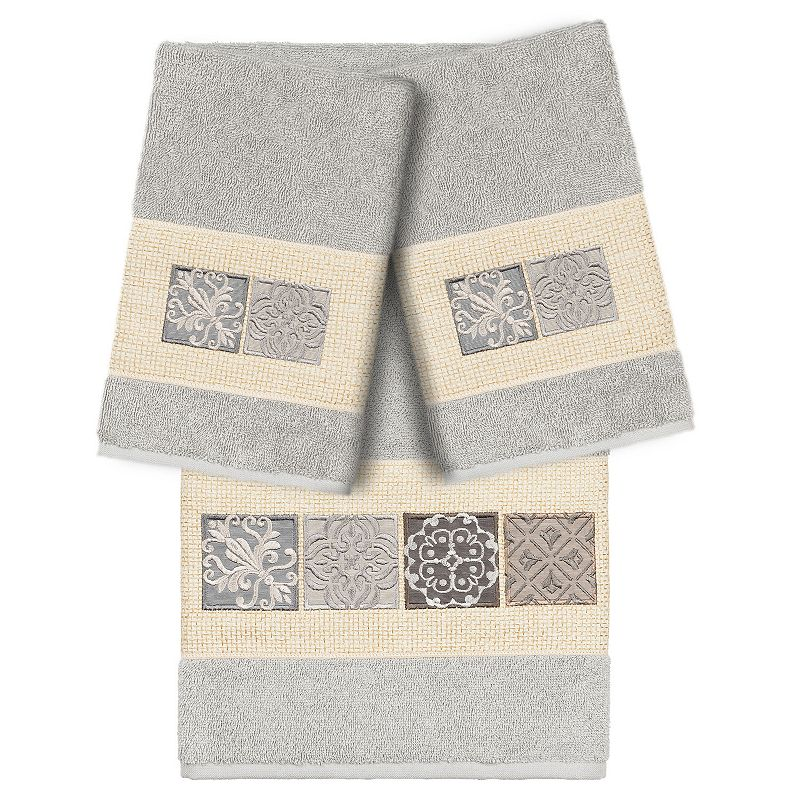 Linum Home Textiles Turkish Cotton Vivian 3-piece Embellished Bath Towel Set. Light Grey