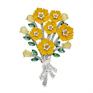 Napier Simulated Crystal Yellow Floral Boquet Pin