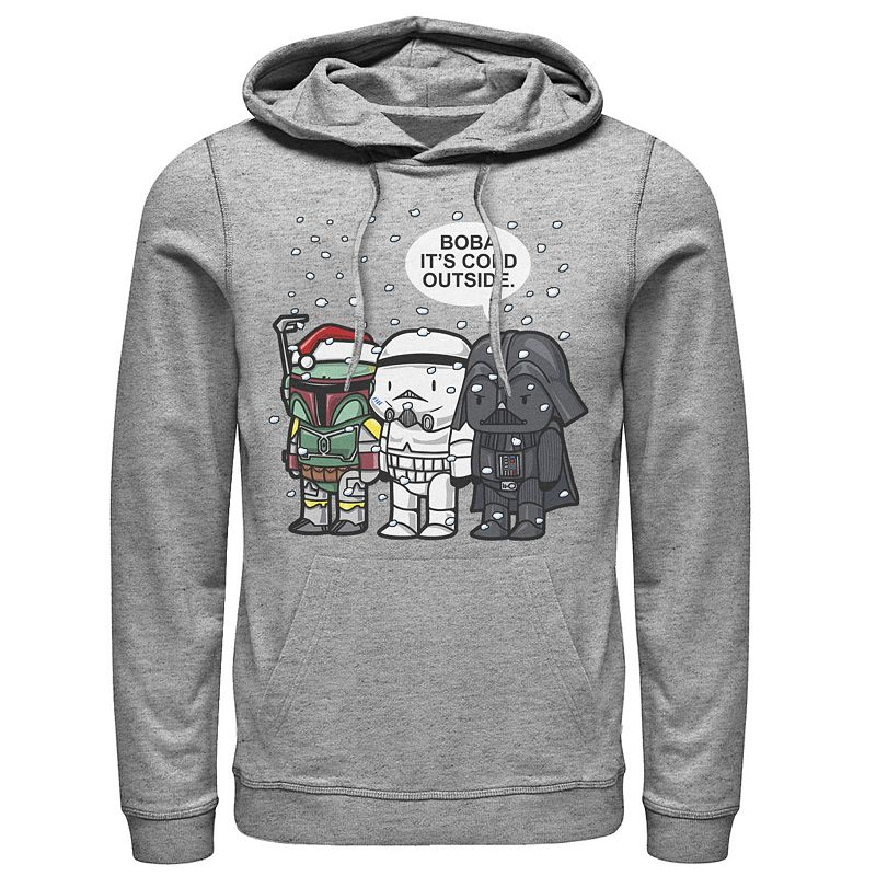 Men's Star Wars Christmas Boba It's Cold Outside Hoodie. Size: Small. Med Grey