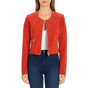 Women's Bagatelle Sport Genuine Suede Crop Moto Jacket