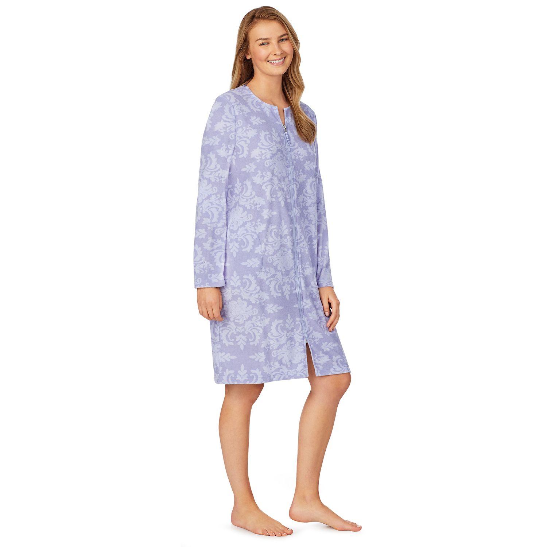 Women's Stan Herman Printed Silky Baby Terry Zip Robe