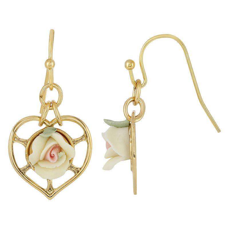 1928 14k Gold-Dipped Heart With Porcelain Rose Earrings, Women's, White