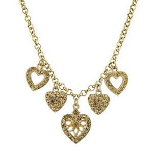 1928 Gold-Tone Light Brown Heart Charm Necklace