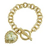 1928 Gold-Tone With Swarovski Crystal Aurora Borealis Heart Charm Toggle Bracelet