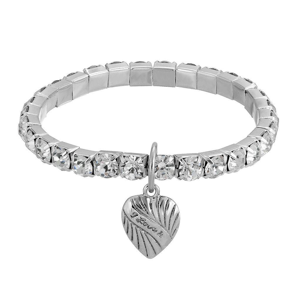 1928 Silver-Tone Crystal Heart Charm Stretch Bracelet
