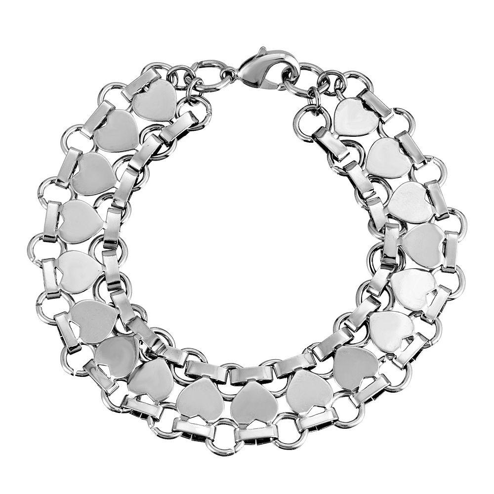 1928 Silver-Tone Heart Link Bracelet