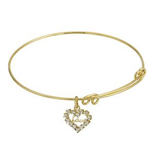 "1928 14k Gold-Dipped Crystal Accented ""Love"" Heart Charm Wire Bracelet"