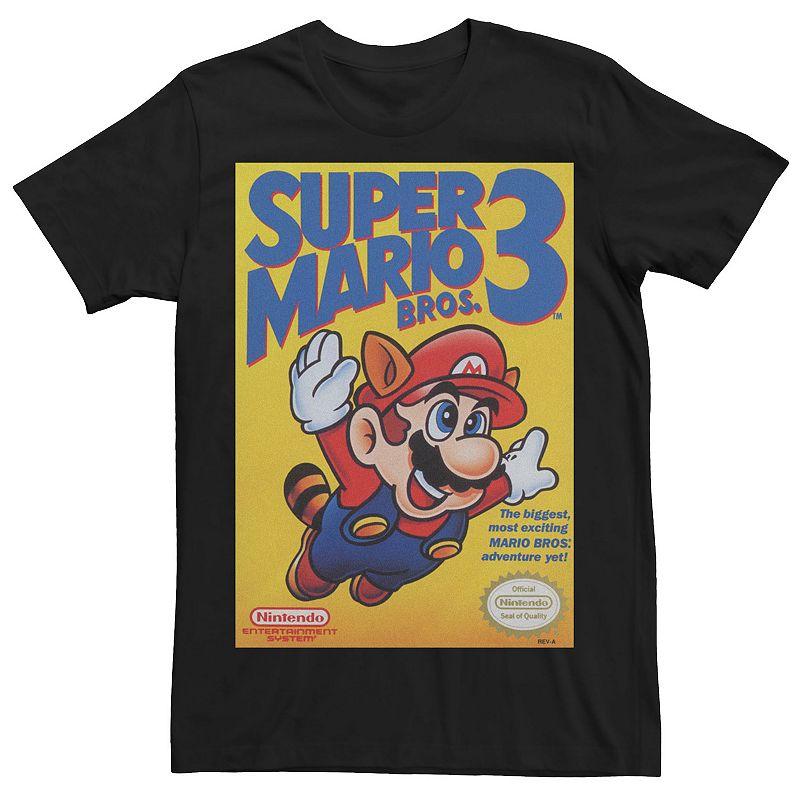 Men's Super Mario Bros 3 Flying Raccoon Mario Poster Tee. Size: Small. Black