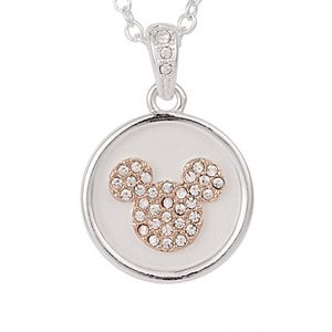 Disney's Mickey Mouse Two Tone Crystal Accent Head Necklace