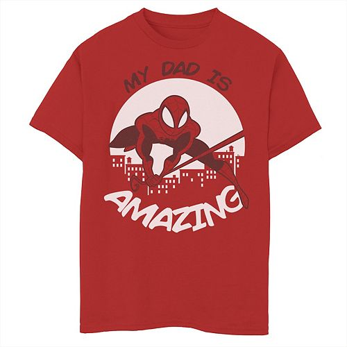 Men's Marvel Father's Day My Dad Is Amazing Spider-Man Action Pose Tee